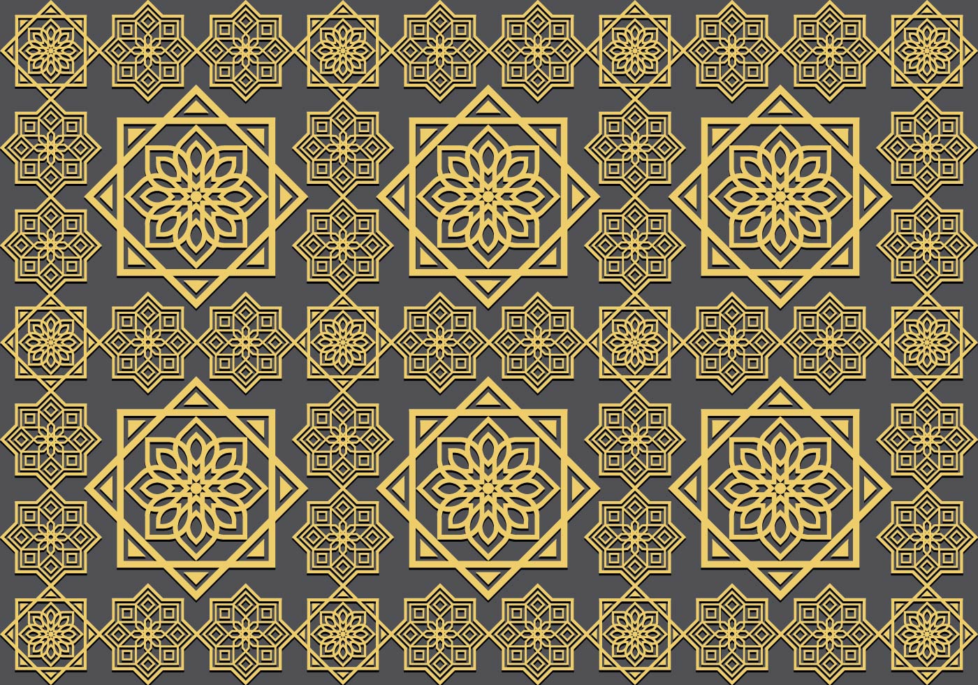 142483 Islamic Ornament Seamless Pattern on Geometry Border