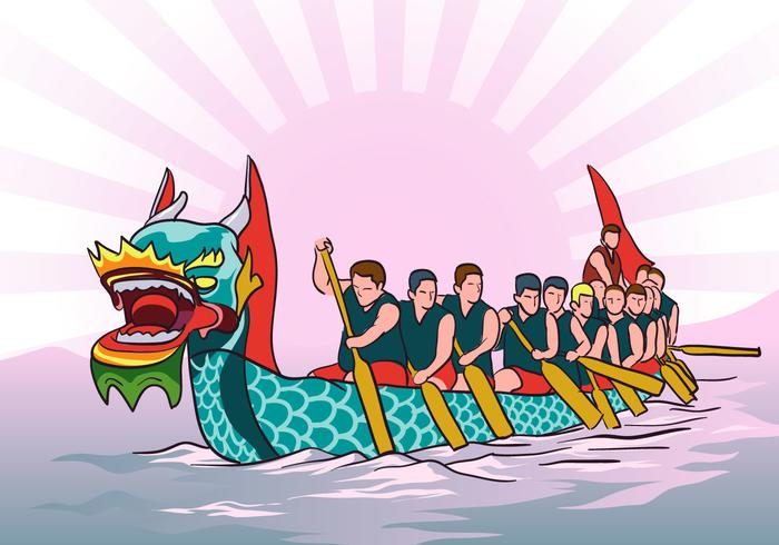 Dragon Boat Vector Background Corrida