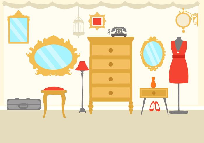 Free Interior Vintage Dressing Room Vector