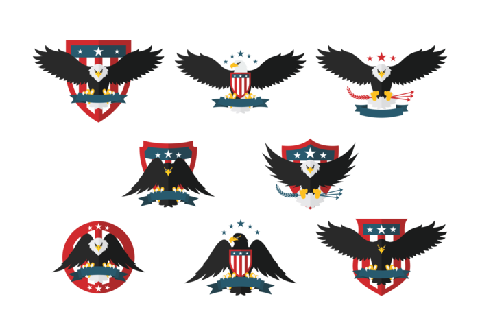 Eagle Seal Flat Icons vector