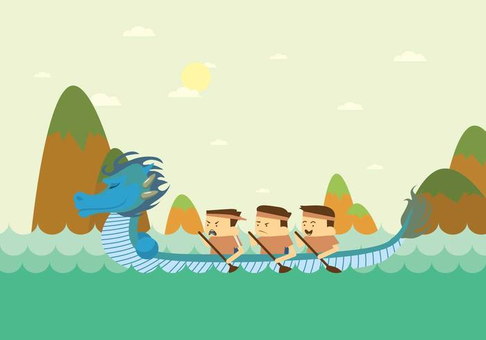 Illustrazione di Green Dragon Boat Festival
