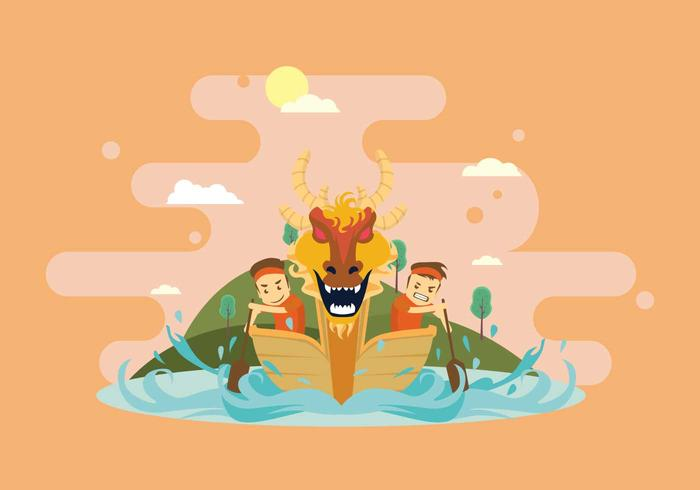 Fun Dragon Boat Race Illustration
