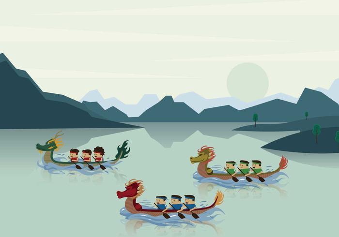 Dragon Boat Race in River Illustration