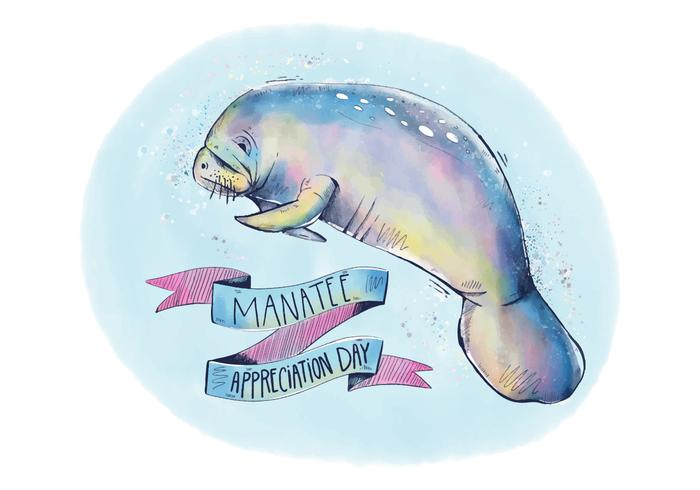 Colorful Manatee Appreciation Background with Ribbon And Lettering Watercolor Style