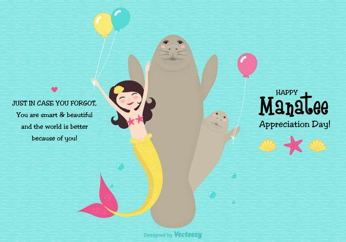 Leuke Manatee Appreciation Day Vector Card