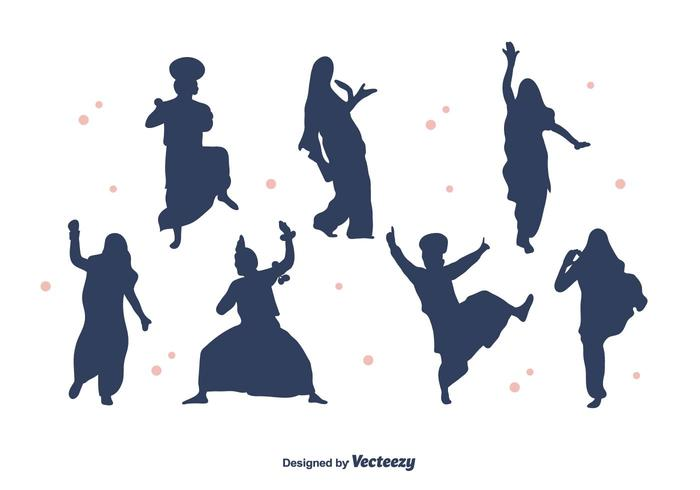 Bhangra Dancers Silhouette Vector