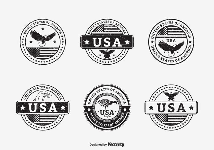 Black Grunge USA Seals Vector