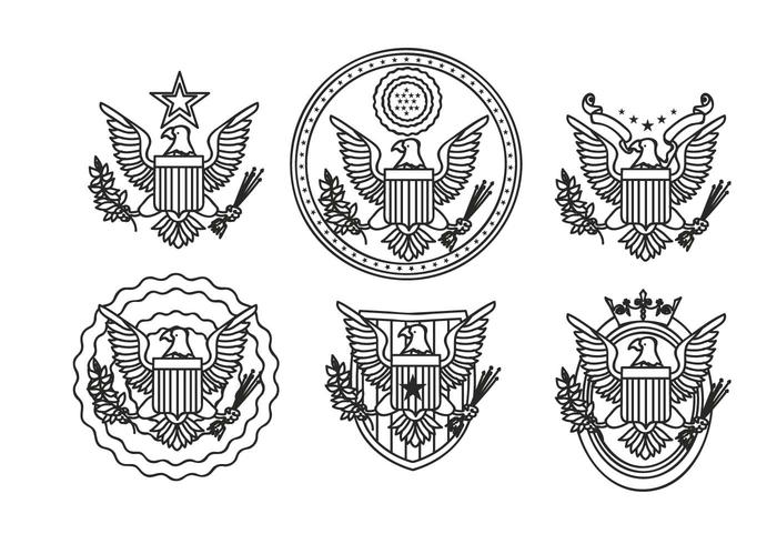 Eagle seal hand drawn outline vector