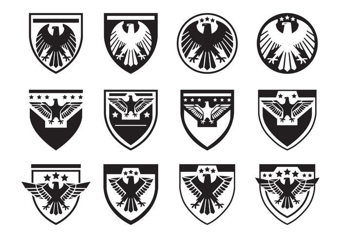 Svart örn försegling symbol vektor uppsättning