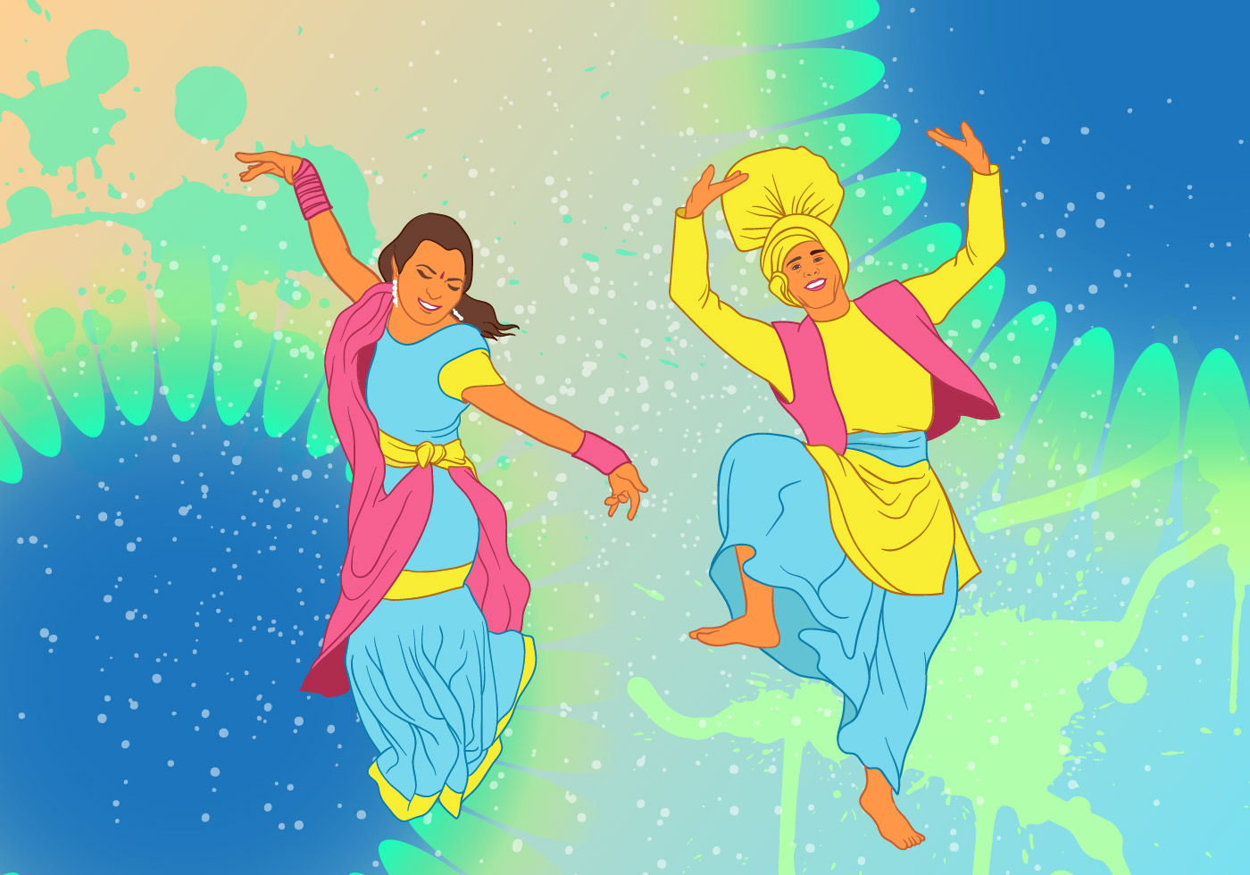 Bhangra Dance At New Year Festival Background - Download ...