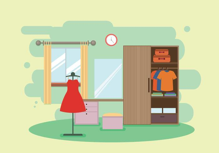 Modern Wood Wardrobe in Dressing Room Illustration