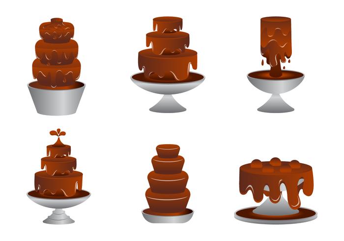 Los vectores de la fuente de chocolate deliciosa