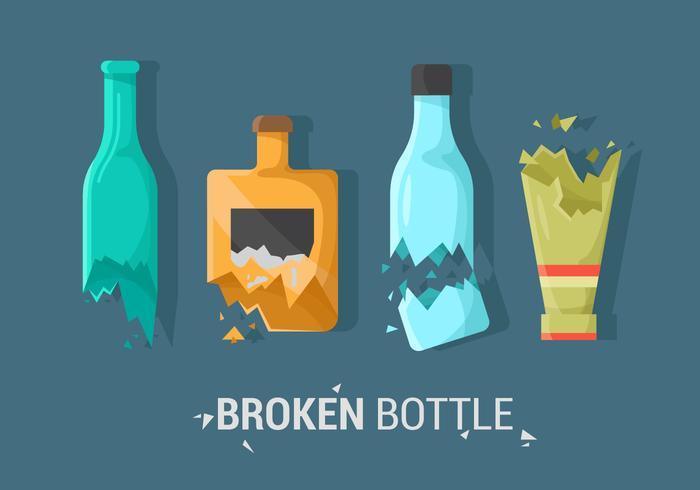 Sets van gebroken fles Vector Item