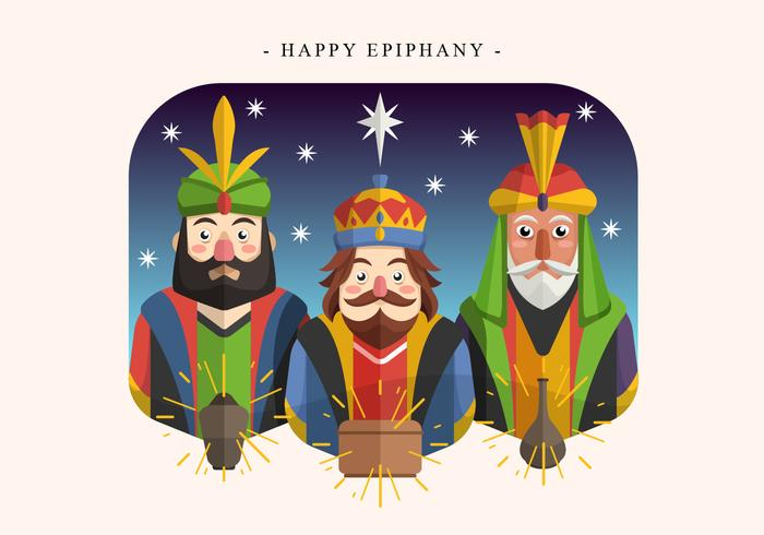 Lycklig Epiphany Day Vector Illustration