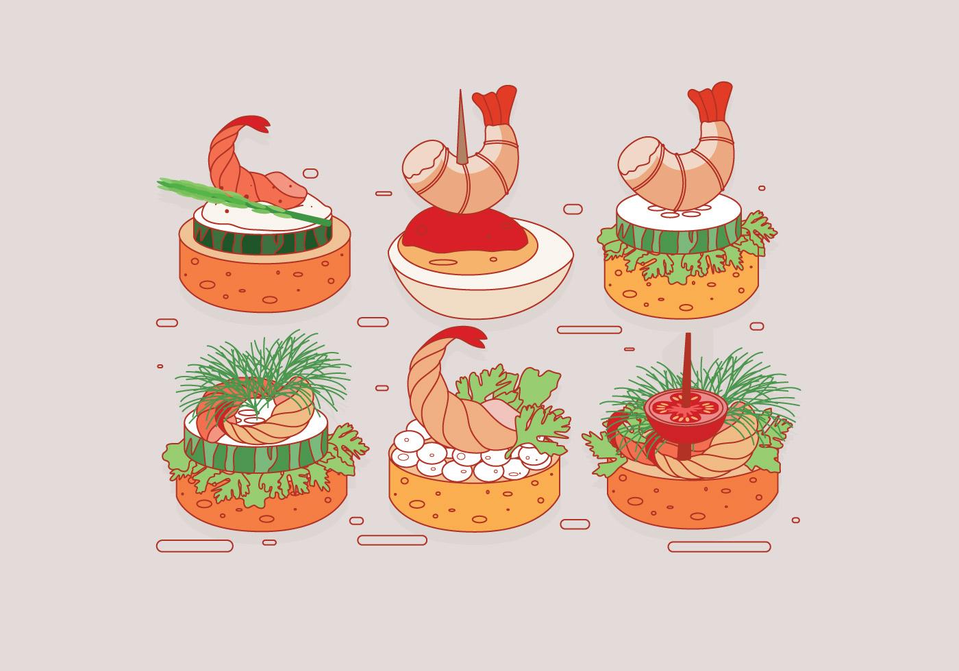 Shrimp canapes vector download free vector art stock for Vector canape download