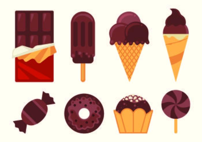 Conjunto de vetores Food chocolate