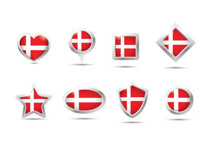Bandera de Dinamarca Botón del vector