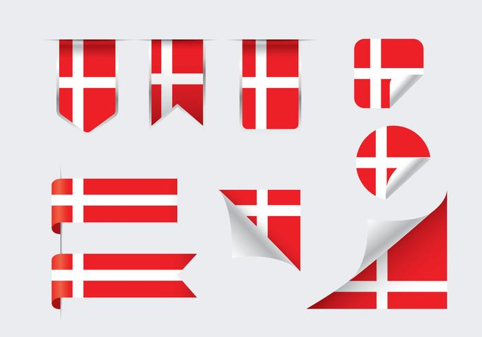 Danish Flags Ribbons and Sticker Vectors