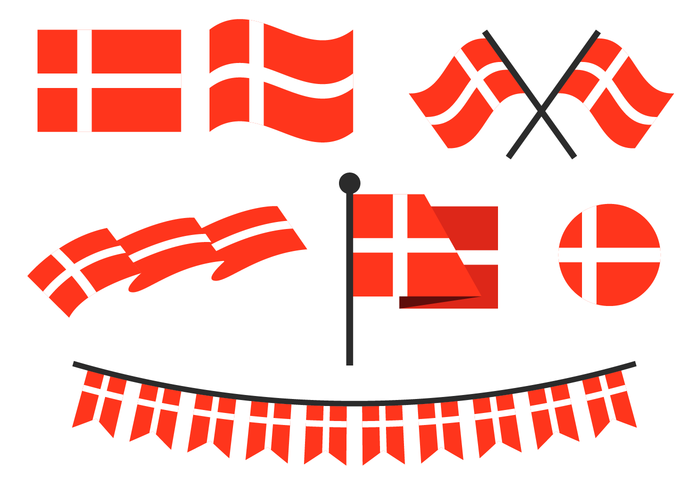 Flat Danish Flag Vector