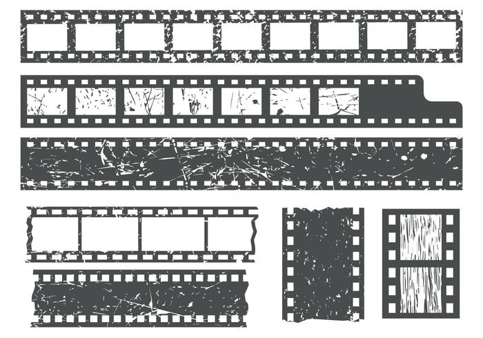 Free Film Strips WIth Grain Texture Vector