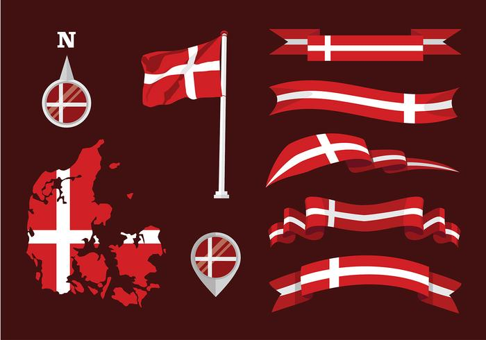 Danish Flag Set Vector