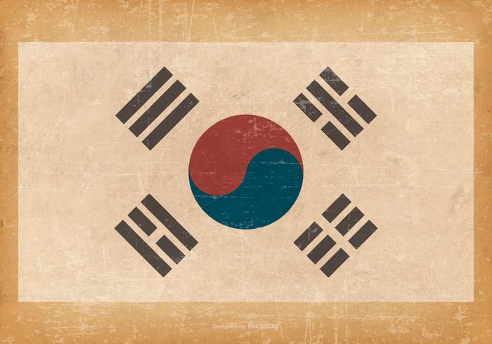 South Korean Flag on Grunge Background
