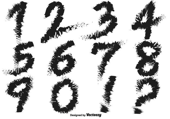 Grungy Handwritten Number Vectors