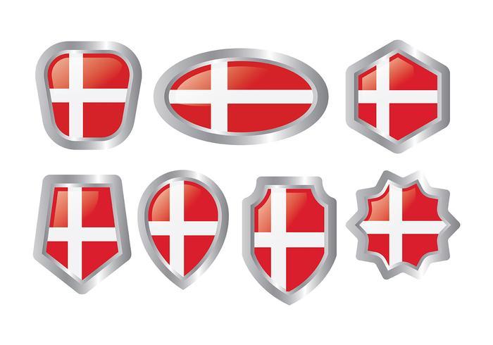 Gratis Deense Vlag Icons Vector