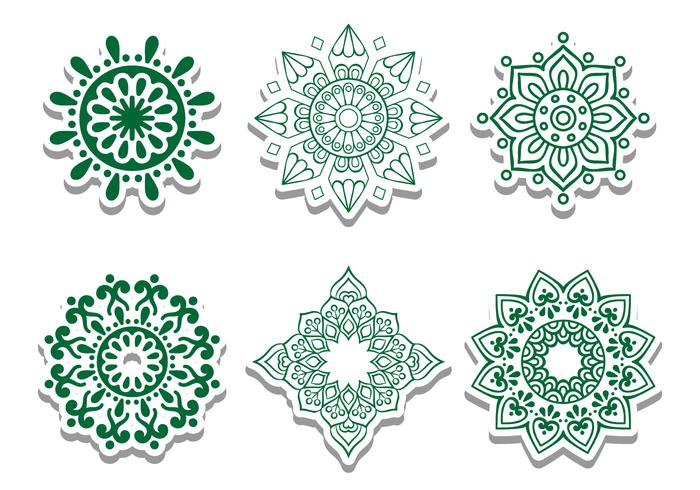 Green Arabian Circle Vector Ornaments