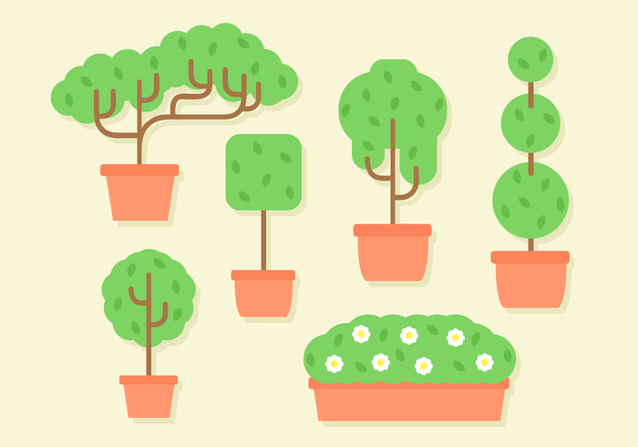 Free Flat Design Trees Vector