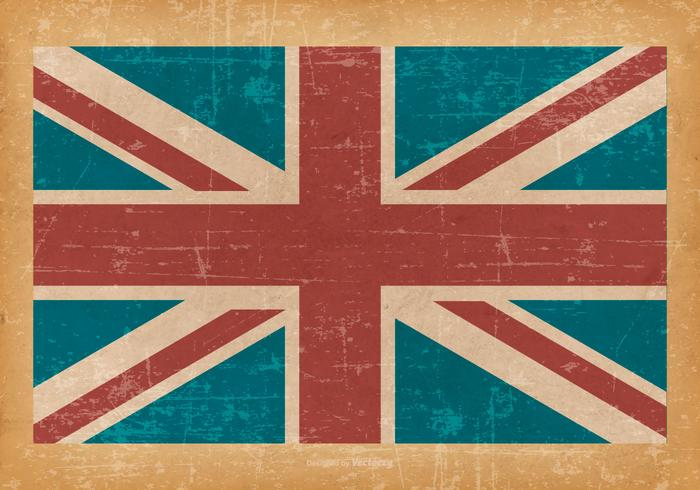 Bandiera del Regno Unito su vecchio fondo di lerciume