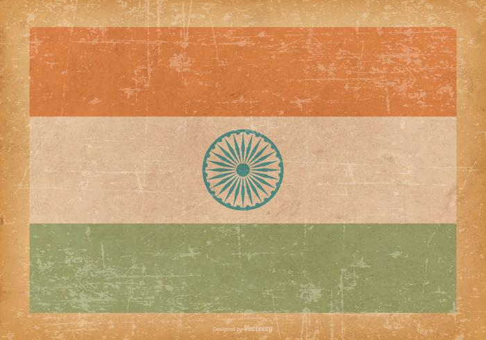 India Flag on Old Grunge Background