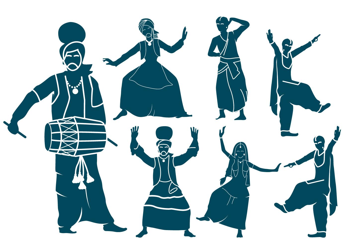 punjabi dancers silhouettes download free vector art