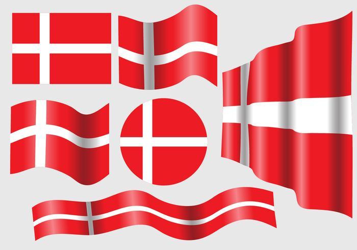 Danish Flag Vector Set