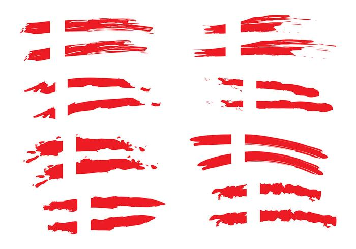 Painted Danish Flag Vectors