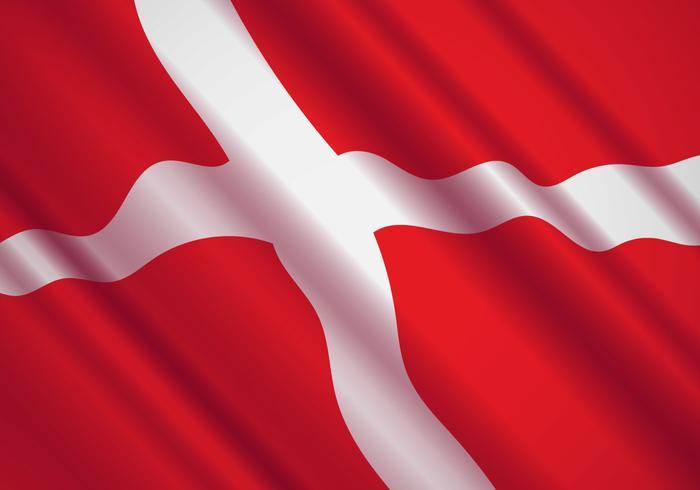 Danish Flag In The Wind Vector