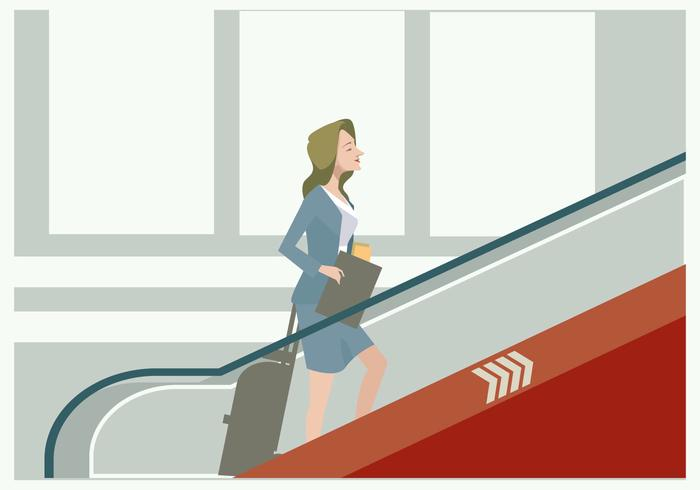 Business Women in The Airport's Escalator Vector
