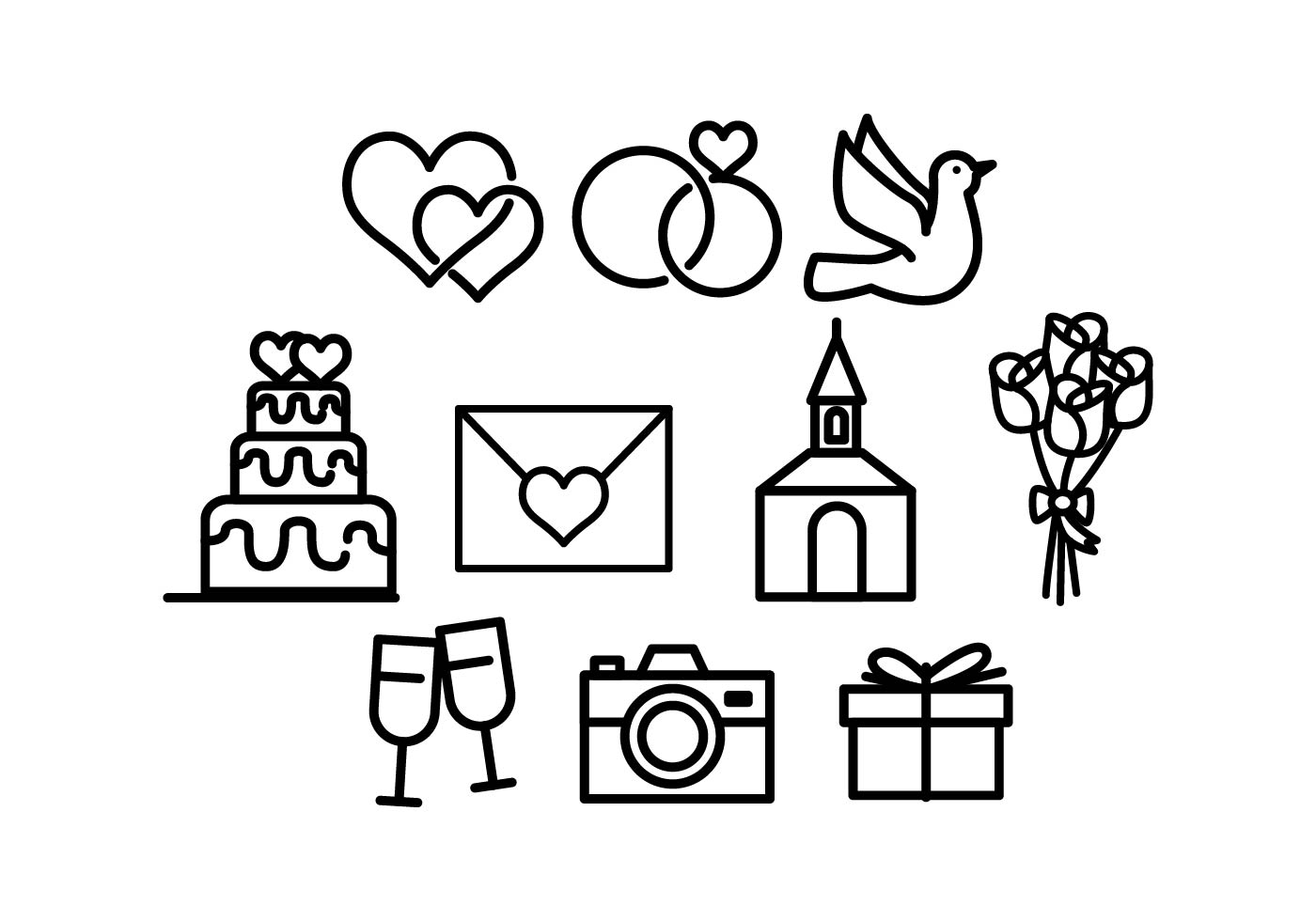 Wedding Icons Free Vector Art 146 931 Free Downloads