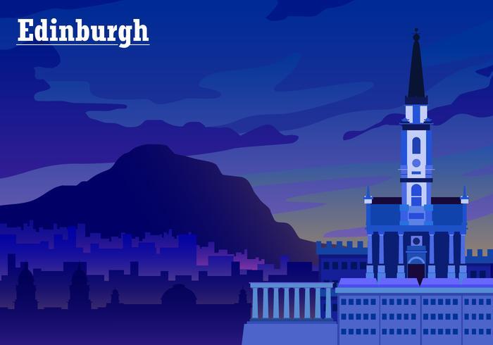 Sunset Over Edinburgh Free Vector