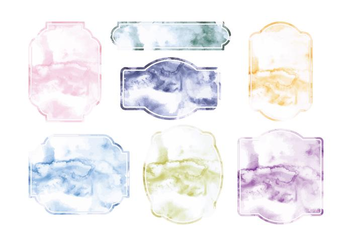 Vector Watercolor Labels Set