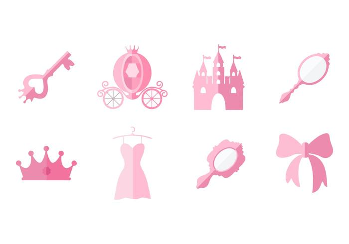 Free Flat Pink Princess Element Collection Vector