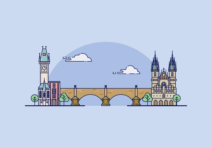 Prague Landmark Illustration