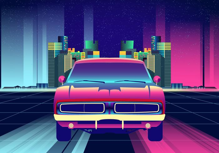 Neon Nights Dodge Charger Car Vector