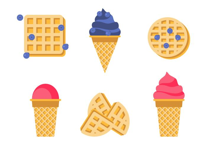 Waffle Cones With Ice Cream vector