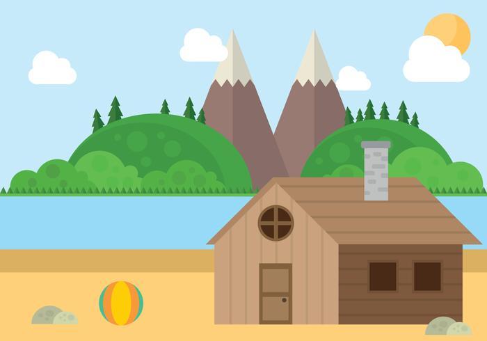 Mountain Beach Cabin Landscape Vector