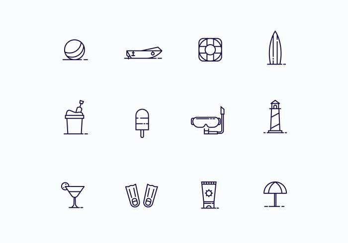 Beach Icons in Outline Style