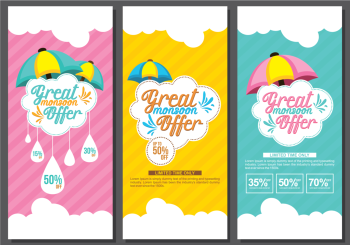 Monsoon Sale Banner Template vector