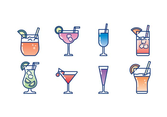 Bicchiere di Cocktail Icon Set