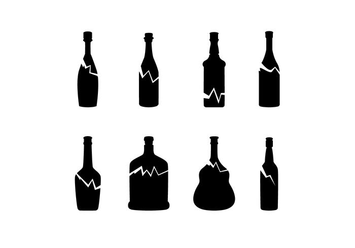 Silhouette zerbrochene Flasche Free Vector