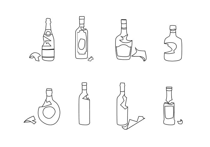 Broken Bottle Outline Free Vector